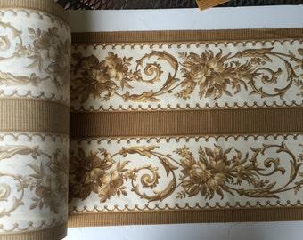 "Fabric Border Trim Edging 15"" Wide Brown,  White  Flowered 5-40 Yards"