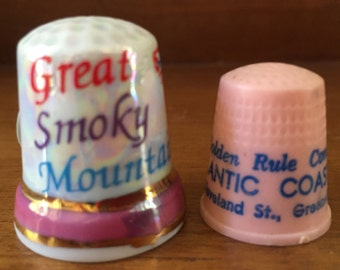 Collectible Thimbles Lot of 2 Plastic Advertising and Ceramic State Souvenir
