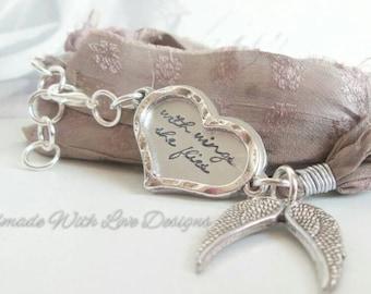 Handstamped Silk Wrap Bracelet, Recycled sari silk jewellery, Wings Heart, With wings she flies,