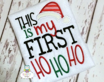 This is My First Ho Ho Ho Shirt or Bodysuit, Baby's First Christmas, Boy First Christmas, Boy Christmas Shirt, Boy Christmas