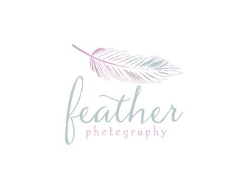 Watercolor Logo -  Watermark Business Logo -  Feather, Pen, Drawn, Artistic, Unique, Nature, Simple, Newborn, Small Business, Photography
