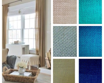 Natural Burlap Curtains Sage Green Drapes Made to Order