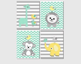 Mint, Yellow and grey safari nursery Art Print Set, baby boy wall art,  elephant, chevron, giraffe, lion, monkey, birds - UNFRAMED
