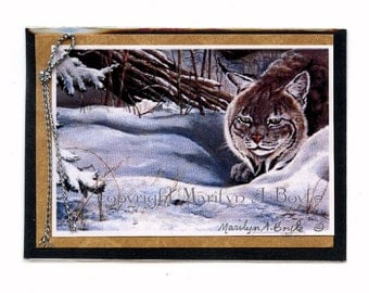 ACEO CARD - PRINT; one of a kind, wildlife, Canada Lynx, meadow mouse, winter, embellished. collage