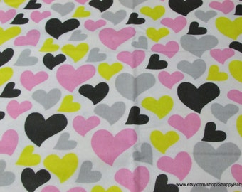 Flannel Fabric - Black Yellow Pink Grey Hearts - 1 yard - 100% Cotton Flannel