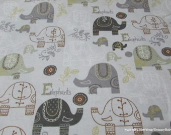 Flannel Fabric - Baby Elephants Print - 1 yard - 100% Cotton Flannel