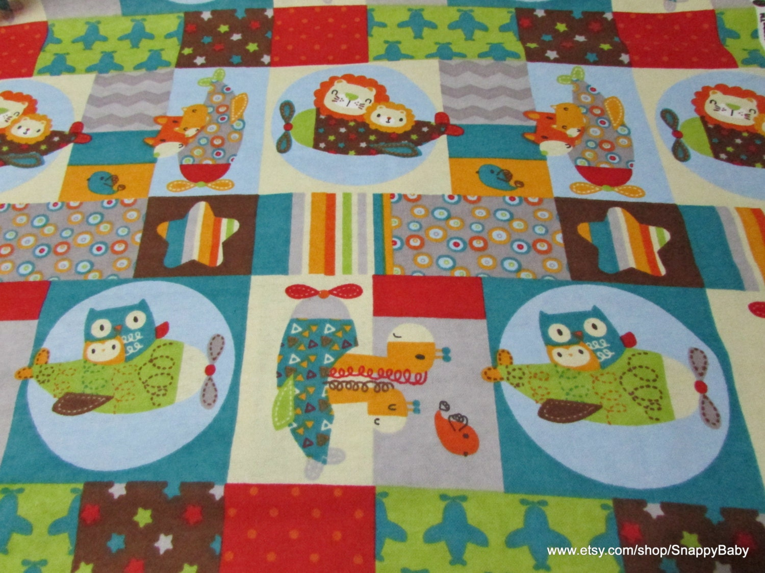 Flannel fabric baby animal planes patch by the yard for Children s flannel fabric by the yard