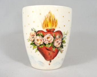 Handmade porcelain mug with hand painted flaming heart  and red roses