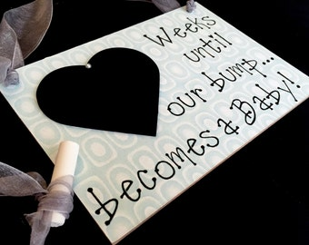 """Gift For Expecting Parents, (Smokey Green) """"Weeks Until..Our Bump Becomes A Baby!"""", Expecting Parents chalkboard"""