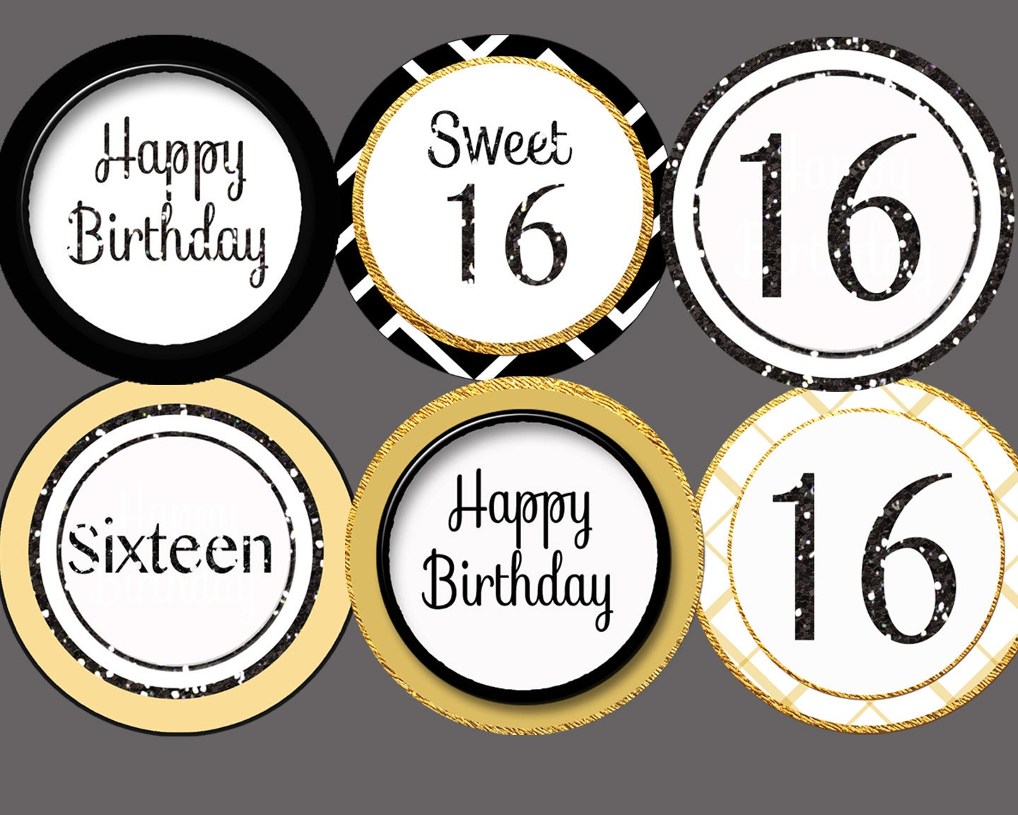 16th cupcake toppers sweet sixteen cupcake toppers gold