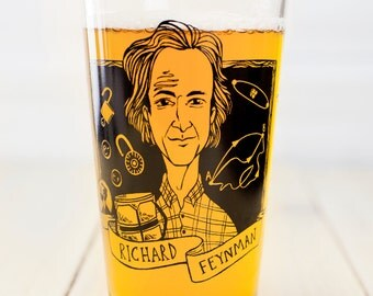 Richard Feynman Beer Glass | Pint Glass, Genius, Heroes of science, Nerdy physics gift for him or her, inventor and physicist, atomic bomb