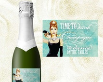 "MINI Champagne labels, Audrey Hepburn, time to drink champagne and dance on the tables, bridesmaid gifts,  3x2"" 9 per sheet. {Digital Only}"