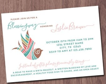 Blessingway Invitation Boho Bird Feathers Mother Blessing Invite Blessing Way Baby Shower Alternative Homebirth Natural Birth Gender Neutral