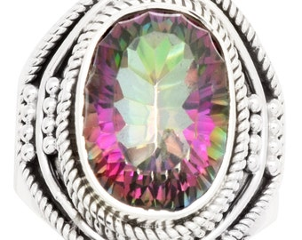 Natural Mystic Quartz Ring Solid 925 Sterling Silver Jewelry Size 7 EBR977