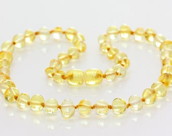 Authentic baltic amber baby teething necklace. Lemon. 32-34 cm/12.6-13.4 in
