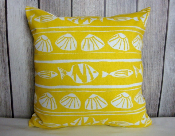 Throw Pillow. Yellow Pillow. Pillow Cover. Decorative Pillow. Nautical Pillow.