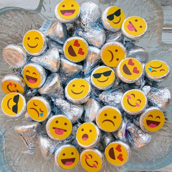 Emoji Gang Hershey Kiss Printable Stickers