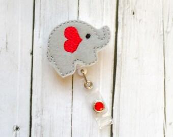 Elephant Felt Badge - Badge Holder - Felt Badge Reel - Unique Retractable ID Badge Holder - Lanyard - Professional Peds RN