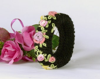 Black strap with embroidery, textile bracelet, cuff, black, gift for women,.