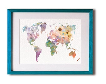 Colorful World Map Watercolor Print - 5x7 Archival Print - Map Painting - Pastel, Dreamy, World Map Art Print, Map Art, Wall Decor - Gifts