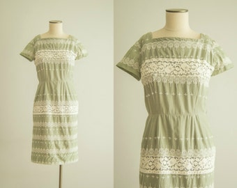vintage 1950s dress / cotton lace dress / medium / Clary Sage Dress