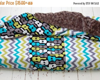 20% OFF SALE SALE - Groovy Guitar  Baby Bedding - Changing Pad Cover and Blanket - Groovy Guitar and Multi Chevron - Ready to Ship