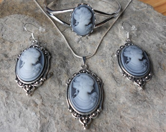 Stunning Victorian Woman Cameo Pendant Necklace, Earrings, and Bracelet Set - Great Quality