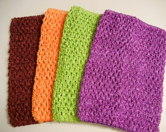 FREE shipping! Lot of Four- New! 8 inch crocheted unlined tube tutu tops in 4 different colors for crafts, tutu dresses, other uses.