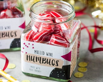 Boozy Mulled Wine Humbug Jar - Gift for Her - Party Favour - Food Gift - Foodie - Wedding Favour - Gift for Him - Christmas - Wine Gift
