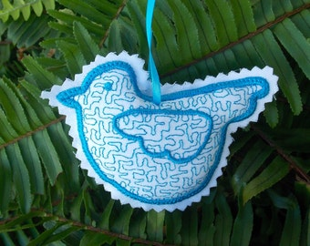 Christmas ~ Holiday ~ Wreath ~ Valentine ~ Gift Turquoise Stuffed Bird Ornament ~  Machine Embroidered