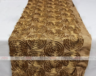 Close Out - 12x108 - Rosette Taffeta - Table Runners - Antique Gold