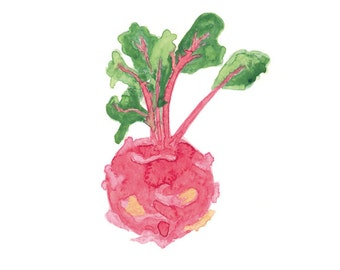 Kitchen Wall Art, Watercolor Turnip Painting, Vegetable print, Kitchen Decor, Botanical Art, Food Poster, Kitchen Print
