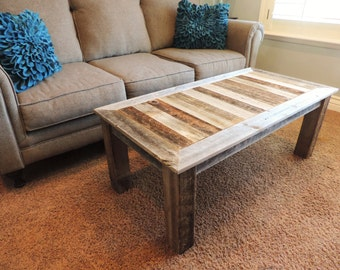 "24"" X 48"" X 18""   ""Bretton"" style Reclaimed Wood Rustic Barnwood Coffee Table"