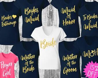 5 NAVY & GOLD WEDDING Shirts Bundle Deal Script Print, Bridesmaid shirts, maid of honor, bride shirts, bridesmaid, bridal, weddings