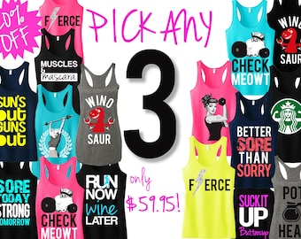 3 WORKOUT FITNESS TANK Tops 20% Off Bundle, Workout tanks, Fitness Tank , Workout Shirts, Gym Tank, gym clothing, Workout tank tops