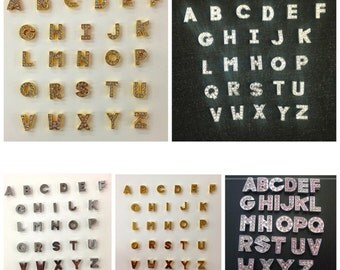 26 PC silver/gold/pink Rhinestone/plain Letters A-Z sets Alphabet English Letters or pick your own letters can fit in 8mm slide bracets