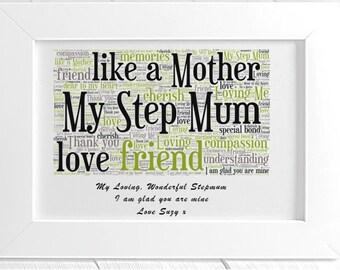 Personalised Step Mum Framed Word Art
