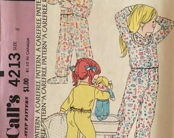 McCalls Vintage Pattern 4213 Childs Pajamas  UNCUT Size 6