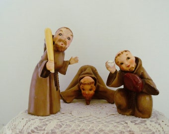 Vintage Napco Ceramic Figurines Monks Baseball Catcher Umpire Batter