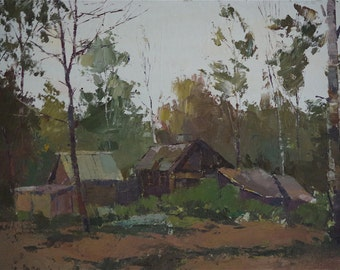 Landscape, Village View, Original Oil Painting, One of a Kind, Signed with Certificate of Authenticity