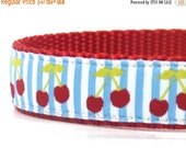 CHRISTMAS in JULY SALE Cherries Dog Collar/ Yellow Dog Collar/ ribbon dog collar/ adjustable dog collar/ martingale dog collar