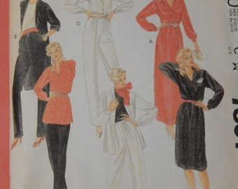 McCall's 7801 Dress, tunic, shirt and pants pattern with bust cup size adjustment darts Uncut Size 12