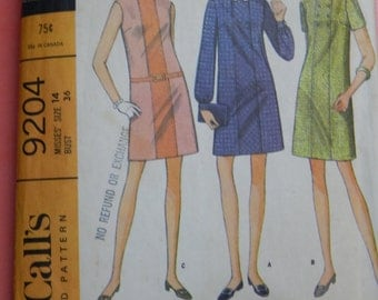 "McCall's 9204 ""Easy To Sew"" vintage dress pattern Size 14"