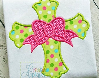 Personalized Easter Cross with Bow Applique Shirt or Onesie Girl or Boy