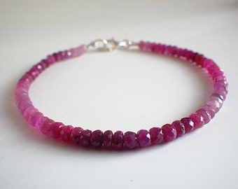 Ombre Raw Ruby Bracelet silver  lobster clasp,genuine raw Ruby beads,stacking ruby bracelet, minimalist bracelet, ruby bracelet, stackable