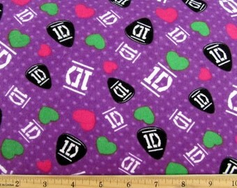 One Direction Fabric 1D Fabric FLANNEL From David Textiles