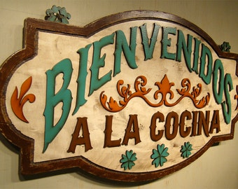Bienvenidos Cocina Wood Kitchen Signs Kitchen Wall Decor Signs For Kitchens Rustic Kitchen Sign Welcome Sign Mexican Cocina Spanish Rustic