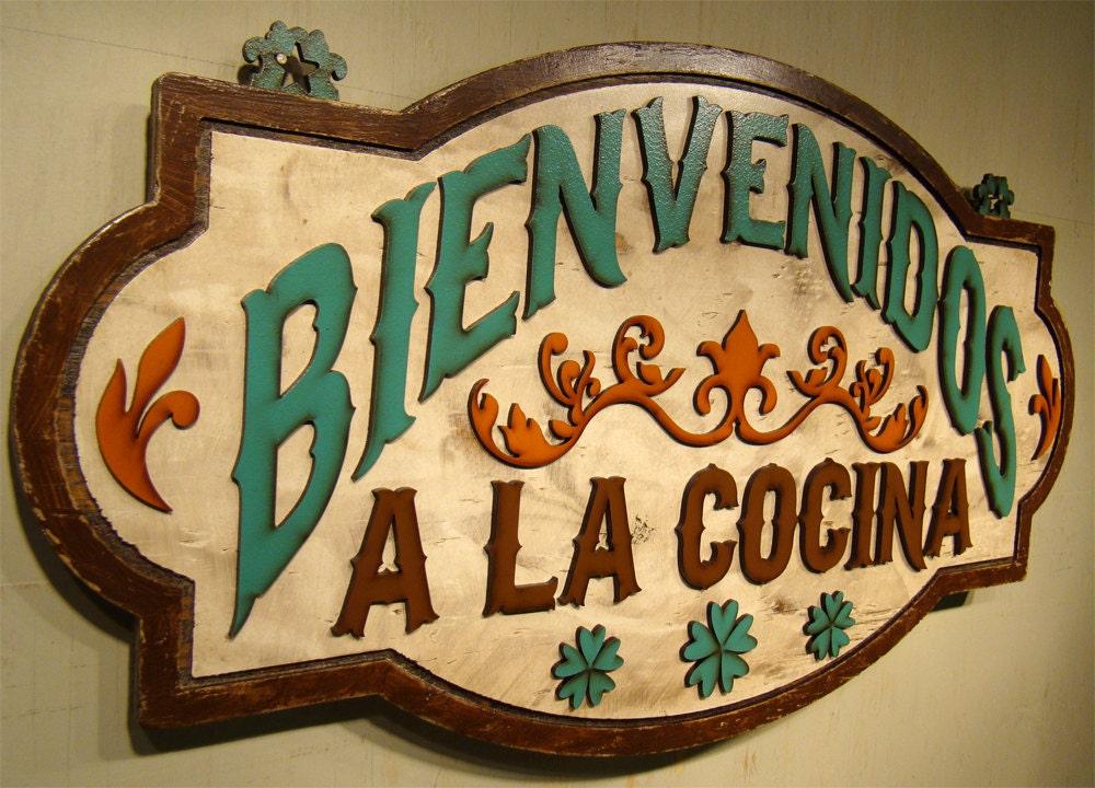 Bienvenidos cocina wood kitchen signs kitchen wall decor signs for Kitchen decoration signs