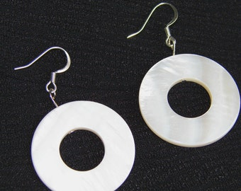 white earrings, round white earrings, mother of pearl earrings, chunky jewelry, large round white earrings, sterling silver earring wires