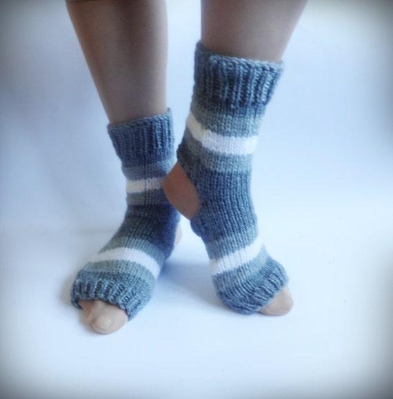 Knitting Patterns Heel Less Socks : Yoga Socks Hand Knitted Socks Gray Knit Socks by CrazyButterflies